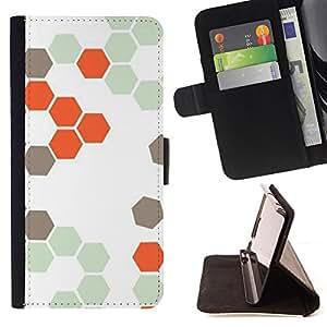 """For Samsung Galaxy J1 J100,S-type Patrón Colmena Naranja Blanco Hexágono"""" - Dibujo PU billetera de cuero Funda Case Caso de la piel de la bolsa protectora"""