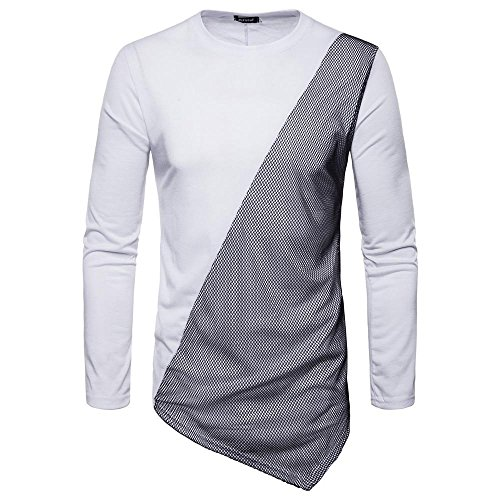 Fashion Autumn Long Sleeve Pullover, Men's Autumn Joint Long Feather Sleeved Sweatshirts Top Blouse by SanCanSn(White,2XL=(US:XL)) ()