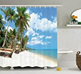 Ambesonne Ocean Decor Collection, Tropical Beach View with Exotic Palm and Clean Sand by the Sea Hawaii Style Paradise, Polyester Fabric Bathroom Shower Curtain Set with Hooks, Cream Blue Green