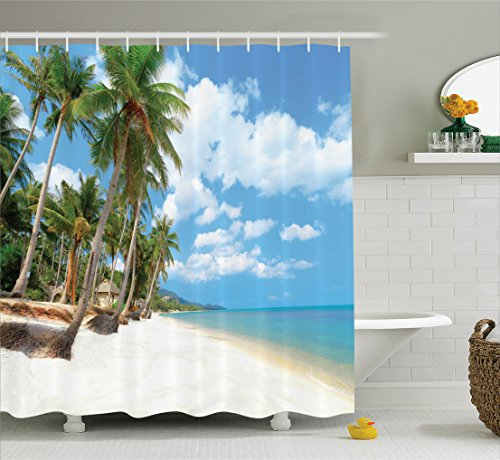 Ambesonne Ocean Decor Collection, Tropical Beach View with Exotic Palm and Clean Sand by the Sea Hawaii Style Paradise, Polyester Fabric Bathroom Shower Curtain, 75 Inches Long, Cream Blue Green (Collection Sand Beach)