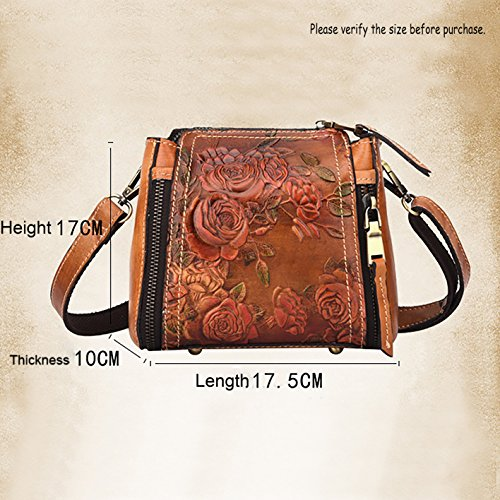 Women's Brown Vintage Leather Crossbody LETEULO Bag Handbag and Silver qUdRxTnT8w
