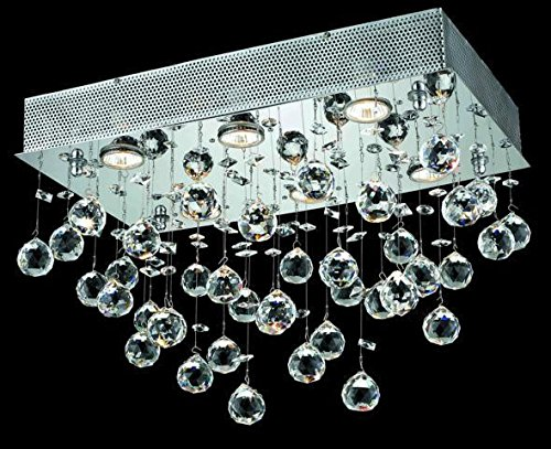 Bernadette Chrome Contemporary 6-Light Flush Mount Heirloom Handcut Crystal in Crystal (Clear)-1718F20C-RC--12