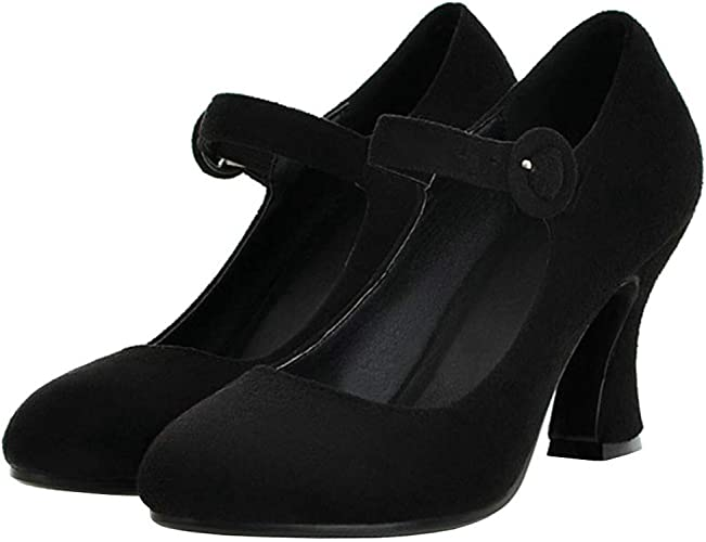 LUXMAX Womens Faux Suede Mary Jane
