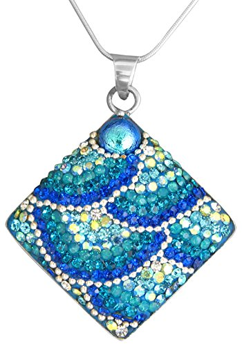 Artisian Crystal (Mosaico Sterling Silver Dichroic Glass and Preciosa Czech Crystals Square Pendant Necklace, 17