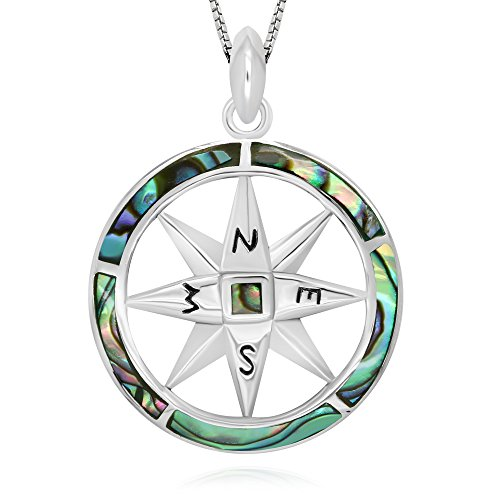 925 Sterling Silver Abalone Shell Compass Follow Your Dreams Pendant Necklace, 18