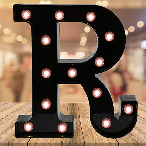 (Light up Black Alphabet Marquee Letters Sign LED Letter Lights for Home Bar Festival Birthday Party Wedding Decorative (Black Letter R))
