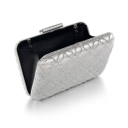 Crystal Clutch Handbags Silver Evening Hard Bag and Large Womens Satin Silk DMIX XwgqpYY4