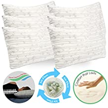 Clara Clark Shredded Memory Foam Gel Fiber-Filled Cool All Side Sleeper Bed Pillow, Queen (Standard) Size, Pure Calming White, 6-Pack, with Rayon made from Bamboo Colored Washable Hypoallergenic Zippered Removable Cover, Natural Supportive Alignment, May Reduce Snoring, Migrants, Back & Neck Pain