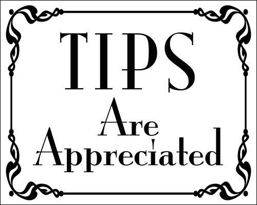 American Vinyl White Tips are Appreciated Sticker (Bartender tip jar - Bartender Sticker