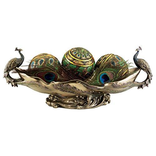 Design Toscano Peacock's Decorative Centerpiece Sculptural Bowl, 17 Inch, Polyresin, Bronze Finish