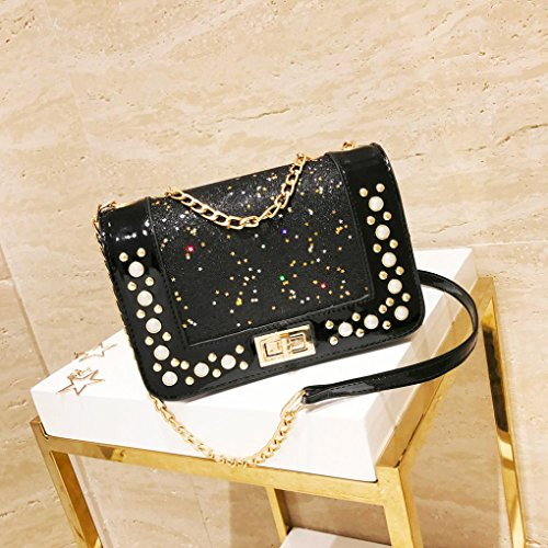 Chain Ladies Sequins Crossbody Leather Coin Bag Shoulder Bag Bag Fashion Black Satchels Bag Sequins Phone Women Girls pprqw5O