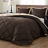 Lightweight Solid Comforter Set (Queen) with 2 Pillow Shams - 3-Piece Set - Brown and Tan - Hypoallergenic Down Alternative Reversible Comforter by downluxe
