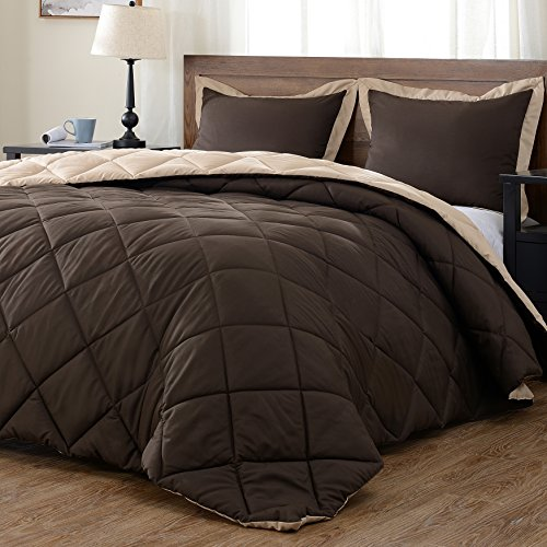 downluxe light-weight decent Comforter Set (Queen) together with 2 Pillow Shams - 3-Piece Set - Brown and Tan - Hypoallergenic the way down replacement relatively easy to fix Comforter