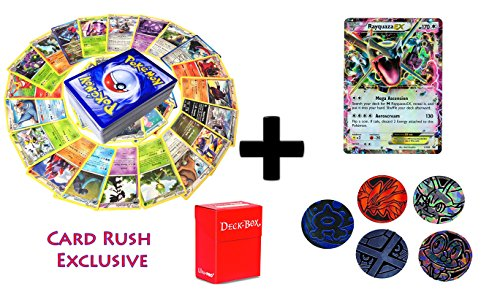 Card 5 Set Promo (50 Pokemon Cards with RAYQUAZA EX PROMO holo card plus 5 coin tokens and deck box, ultimate Gift Collection)
