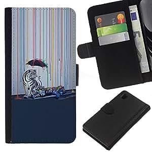 KLONGSHOP // Tirón de la caja Cartera de cuero con ranuras para tarjetas - Psychedelic Rainbow Tigre Blanco - Sony Xperia Z1 L39 //