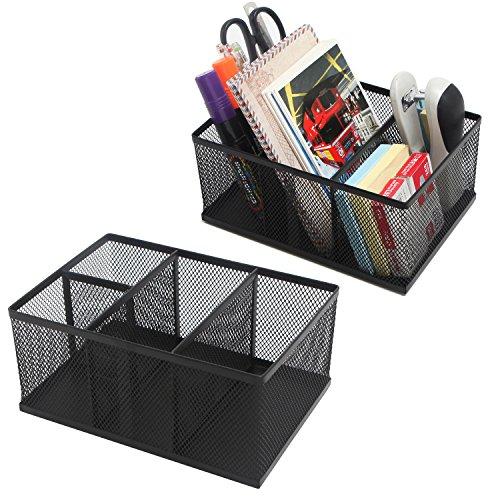 MyGIft Modern Metal Mesh Desktop Office Supply Organizers, Set of 2 Modern Black Mesh