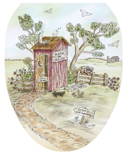 Toilet Tattoos TT-LS03-O Lori's Outhouse Decorative Applique for Toilet Lid, Elongated (Outhouse Bathroom Toilet)