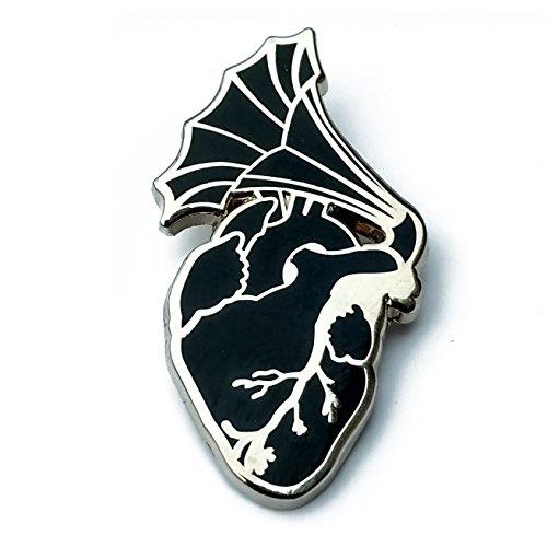 Enamel Pin - anatomical heart pin - lapel pin - retro music pin - enamel - Black Heart Enamel
