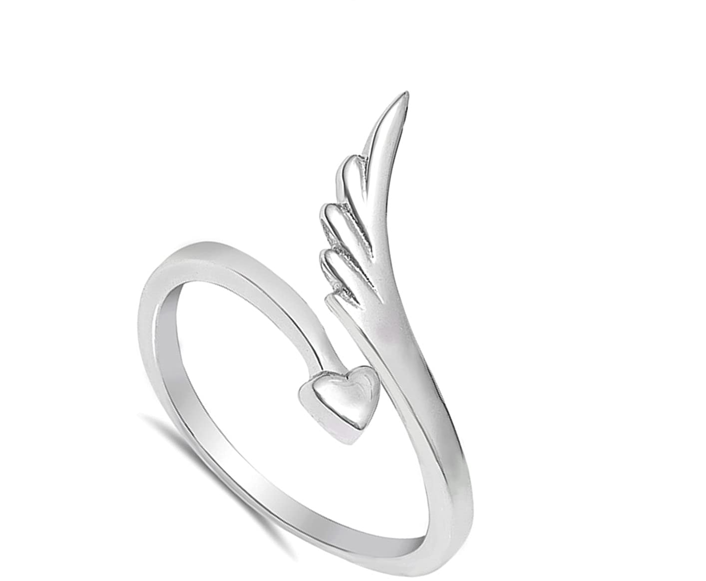 Wing Heart Promise Arrow Open Cute Ring New .925 Sterling Silver Band Sizes 4-10