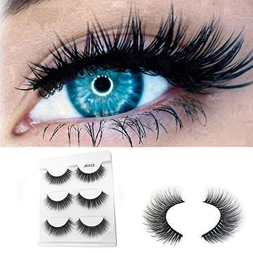 3Pair Luxury 3D False Lashes Fluffy Strip Eyelashes Long Natural Party (3Pair, Black)