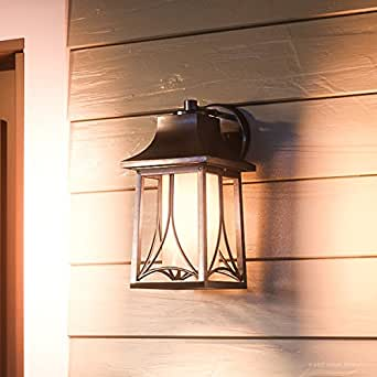 """Luxury Asian Outdoor Wall Light, Small Size: 11.5""""H x 6""""W, with Craftsman Style Elements, Airy Design, Beautiful Royal Bronze Finish and Light Amber Glass, UQL1080 by Urban Ambiance"""