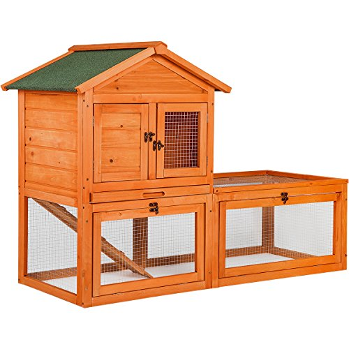 Merax Natural Wood Color Wooden Pet Rabbit Hutch House with Ramp and Tray