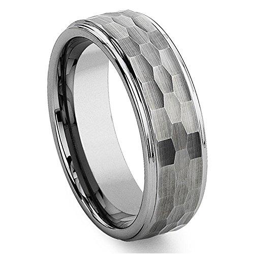 Milo Bruno - Modern Hammer Tungsten Wedding Ring (Silver) - 10 ()