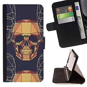 - BROWN DRAWING SKULL ART GEOMETRICAL SKELETON - - Prima caja de la PU billetera de cuero con ranuras para tarjetas, efectivo desmontable correa para l Funny HouseFOR Apple Iphone 5C