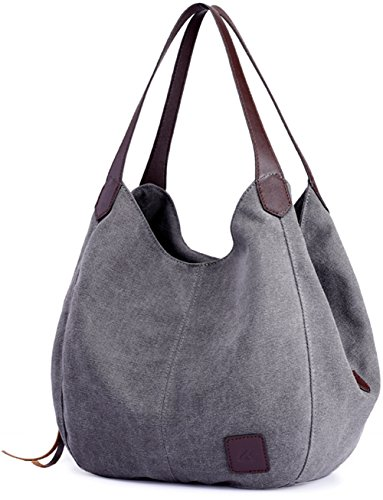 Luckysmile Hobo Bag Travel Shopping Handle Tote Canvas Handbag Women Bag Top for Grey rBnaqrAxfw