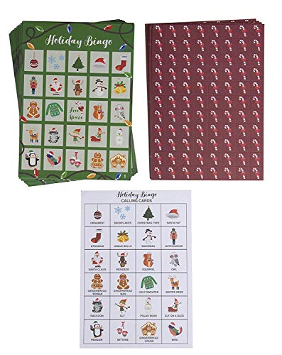 Christmas Bingo Game - 36-Set Family Holiday Party Supplies Activity Kit, 2 to 36 Multi-Player Bingo,Home party, Winter Fun for Kids and Adults