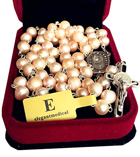 elegantmedical Handmade Pink Freshwater Pearls Lourdes Water Medal Rosary Catholic Necklace Cross Box