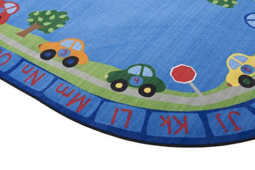 ECR4Kids School Classroom Learning Carpet, All Around Cars Educational Alphabet Rug for Children, Oval, 9 x 12-Feet by ECR4Kids (Image #1)