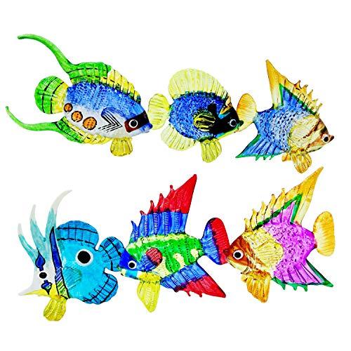WitnyStore Sea Fish Life Figure Art Mini Handicraft Decorations Glass Figurines Colorful Aquarium Ornament Set (Set 6)