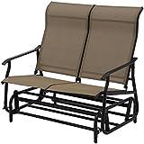 Giantex Glider Bench Outdoor 2 Person Loveseat Chair Loveseat Armchair Garden Bench Chair (Light Brown)