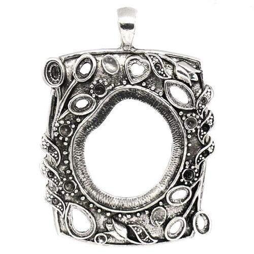 Antiqued Silver 69mm Asymmetric Pendant Setting for Freeform Cameo or Cabochon ID-4513