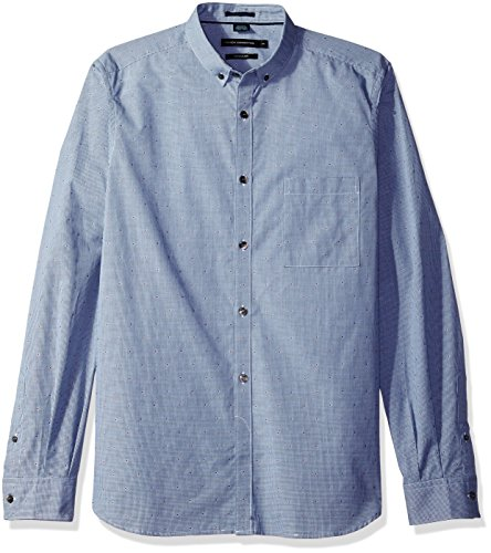 French Connection Men's Long Sleeve Printed Regular Fit Button Down Shirt, Marine Blue Dot, L