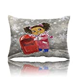 "Travel Pillow Young Black Girl with red Sledge Memory Foam Pillow 13""x18"""