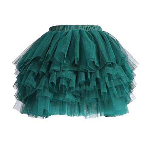 Baby Girls' Tutu Skirt Toddler 6 Layered Tulle Tutus 1-8T Dark Green]()