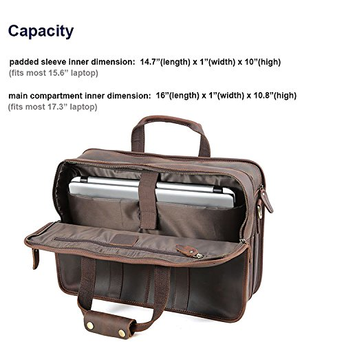 "Tiding Cowhide Leather Vintage Laptop Bag – Durable, Spacious, Stylish Carry On Business Bag – Fits 17.3"" Laptop – Perfect for The Busy Businessman by Tiding (Image #5)"