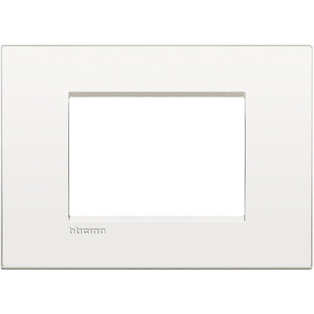 Placa 3 m/ódulos plata lunar Bticino livinglight