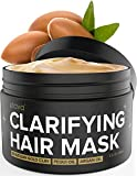 Xtava Clarifying Clay Hair Mask with Argan Oil - 8 Fl.Oz Hair Treatment for Dry Damaged and Oily Hair - Repairing and Conditioning Overnight Hair Clay Masks for Straight, Wavy, Curly, and Natural Hair