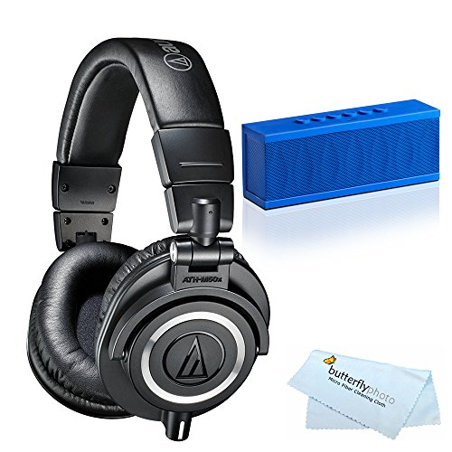 Audio-Technica ATH-M50x Professional Studio Monitor Headphones + BONUS Photive CYREN Portable Wireless Bluetooth Speaker with Built in Speakerphone by Audio-Technica