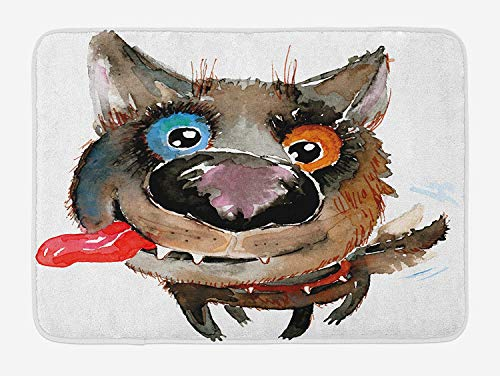 (Animal Bath Mat, Funny Dog Puppy Smiling Best Companion Happy Creature Humor Grunge Print, Plush Bathroom Decor Mat with Non Slip Backing, 23.6 L X 15.7 W Inches, Cocoa Red Orange Blue)