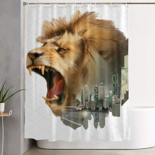 (POLKJIH Creative Durable Waterproof Fabric Polyester Roaring Lion Head Shower Curtains Print Decorative Bathroom with Hooks 60