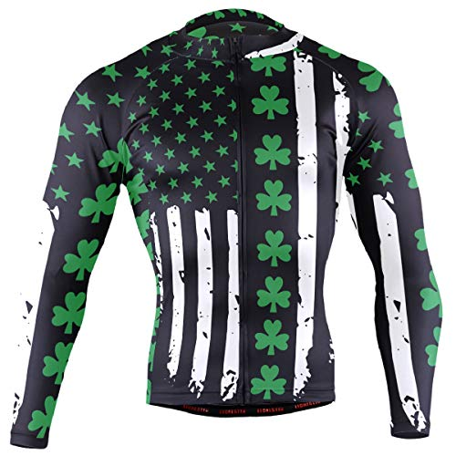 Ainans St Patrick's Day Irish USA Flag Men's Cycling Jersey Long Sleeve Bike Jacket Biking Bicycle Jersey Shirt