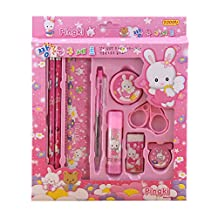 YeahiBaby Students Learning Supplies Stationery Nine Sets Children's Christmas Gift 9Pcs (Pink)