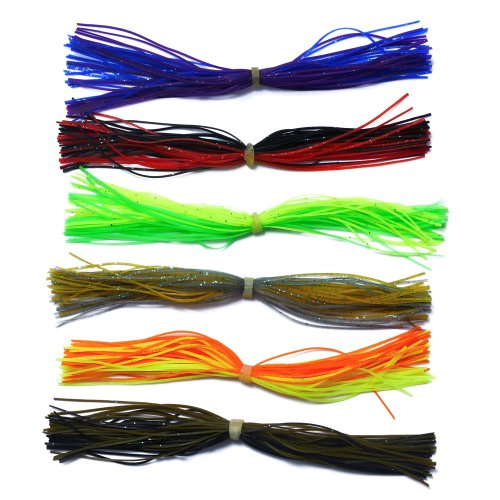 Silicone Jig Skirts DIY Rubber Fishing Jig Lures 6 Bundles Fishing Bait Accessories Spinnerbaits Buzzbaits Spoon Blade Squid Skirt Replacement Part, Fly Tying Material Color Random