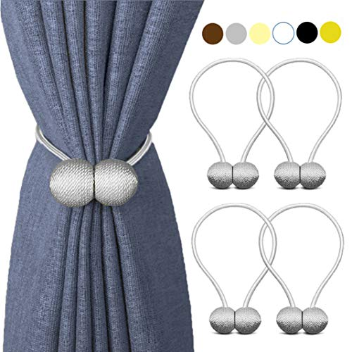 Window Tie Backs - HILELIFE Magnetic Curtain Tiebacks Clips - Window Tie Backs Holders for Home Office Decorative Rope Holdbacks Classic Tiebacks Design (2 Pair (Grey))