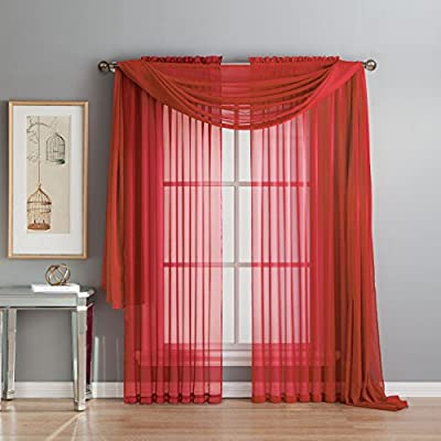 "Window Elements Diamond Sheer Voile 56 x 216 in. Curtain Scarf, Red - Includes (1) unlined 56"" W x 216"" L curtain panel scarf Drape scarf over curtain rod and matching sheer curtain panels (coordinating panels and curtain rod sold separately) Very sheer fabric gently filters light - living-room-soft-furnishings, living-room, draperies-curtains-shades - 518CfZNSE7L. SS400  -"