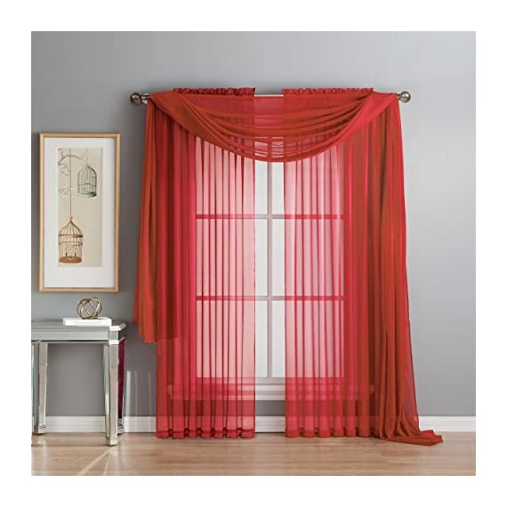 """Window Elements Diamond Sheer Voile 56 x 216 in. Curtain Scarf, Red - Includes (1) unlined 56"""" W x 216"""" L curtain panel scarf Drape scarf over curtain rod and matching sheer curtain panels (coordinating panels and curtain rod sold separately) Very sheer fabric gently filters light - living-room-soft-furnishings, living-room, draperies-curtains-shades - 518CfZNSE7L. SS570  -"""